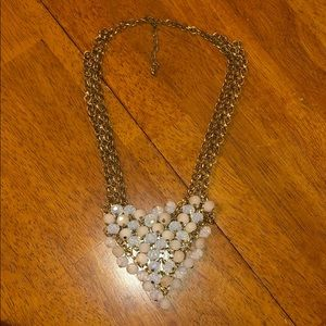 Off white and clear beaded bib necklace- worn once
